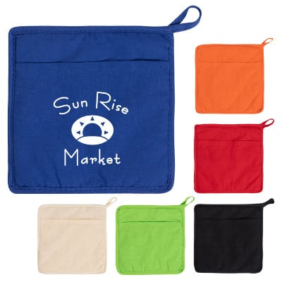 Cotton royal blue pot holder with imprint.