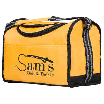 Nylon yellow flip top lunch cooler with personalized logo.
