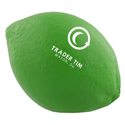 Foam lime stress ball branded with custom logo.