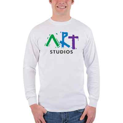 White full color customized long sleeve t shirt.