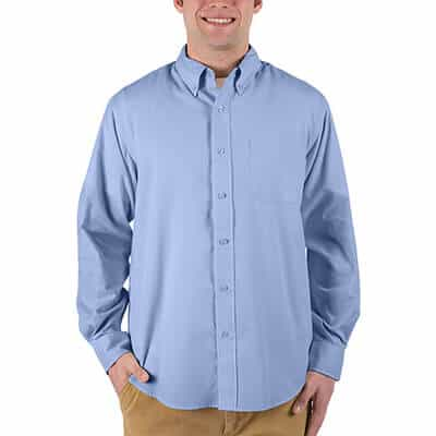 Blank light blue with light stone button up shirt.
