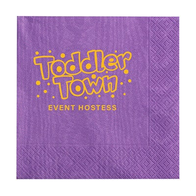 2Ply tissue purple moire cocktail napkins with logo.