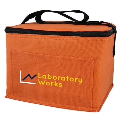 Polypropylene orange 6 pack cooler bag with branded full color logo.