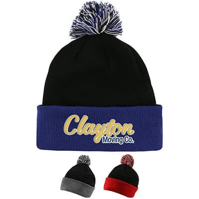 Personalized black with royal blue beanie with pom.