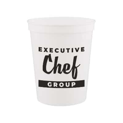Plastic blue stadium cup with custom imprint in 16 ounces.