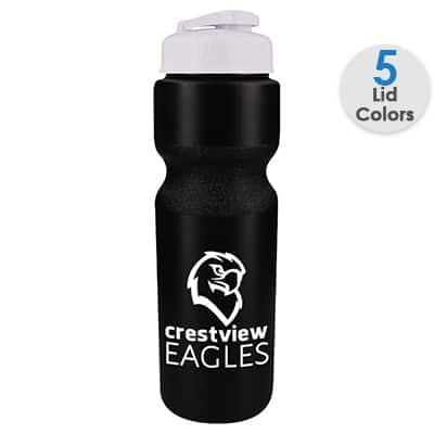 Plastic black water bottle with custom logo and flip top lid in 28 ounces.