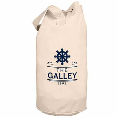 Natural cotton heavy boat tote with imprinted logo.