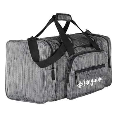 Polyester gray ash duffel bag with logoed imprinting.