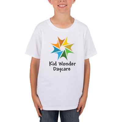 Full color white customized childrens t shirt.