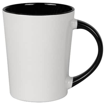 Ceramic white with black coffee mug with c-handle blank in 12 ounces.