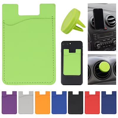 Blank lime green leather phone wallet.