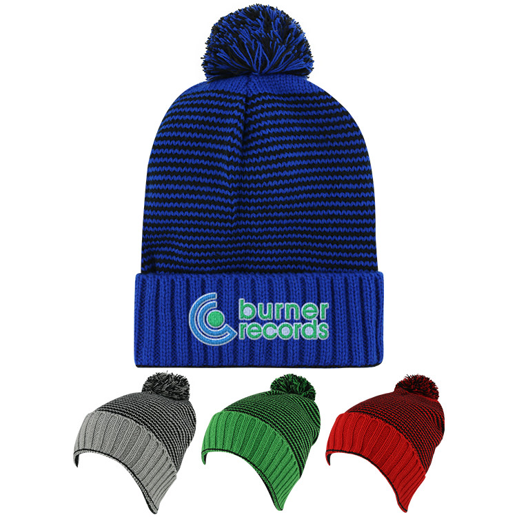Promotional royal blue with black beanie with pom.