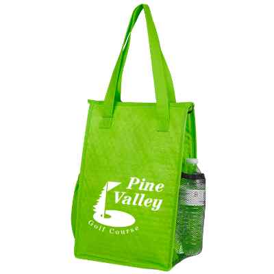 Non-woven polypropylene lime green big lunch cooler with custom imprint.