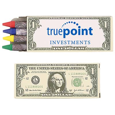 Cardboard 4 pack money crayons with custom imprint.