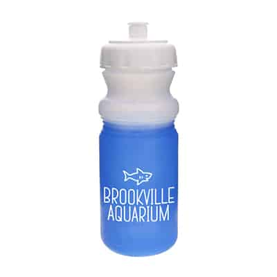 Plastic green to blue mood water bottle with logo in 20 ounces.