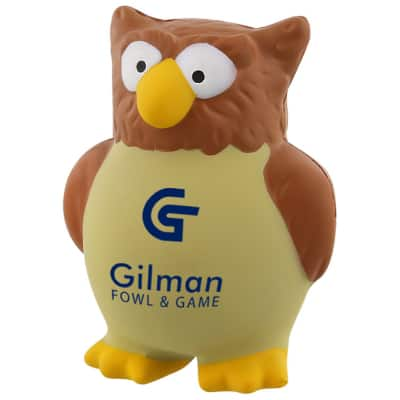 Foam owl stress ball personalized with promo.