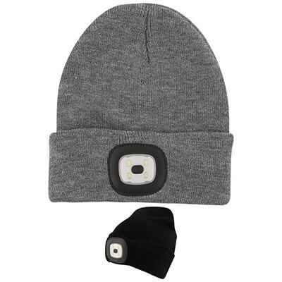 Blank gray beanie with light.