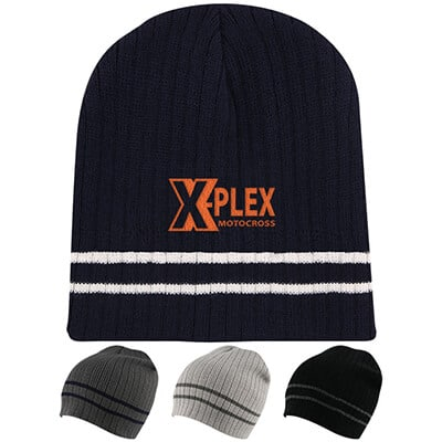 Embroidered navy blue with white beanie.