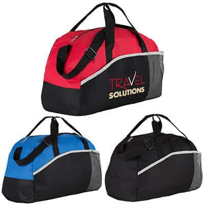 Polyester red professional duffel with branded full color imprint.