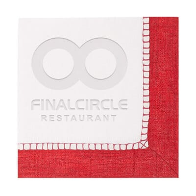 2Ply tissue sherbert red debossed cocktail napkins custom printed.