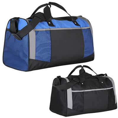 Polyester royal blue adventure duffel blank.