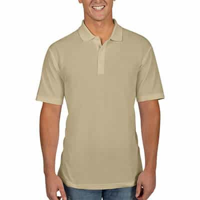 Wheat blank collared polo.