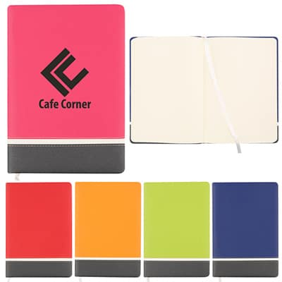 Polyurethane fuchsia accented prism journal with printed logo.