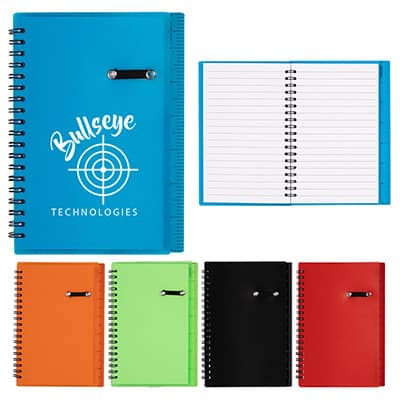 Blue ruler notebook with pen holder and logo.