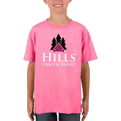 Full color safety pink customized child short sleeve shirt.