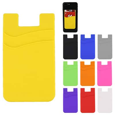 Blank silicone yellow phone wallet.