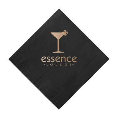 3Ply tissue black custom print diagonal cocktail napkin.