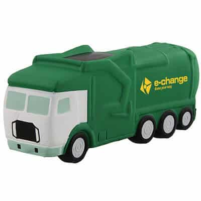 Foam garbage truck stress reliever with personalized logo.