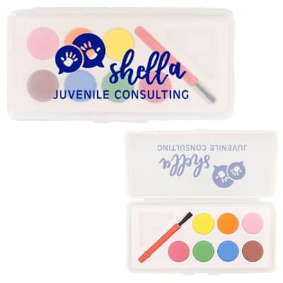 Plastic watercolor paint set with imprinting.