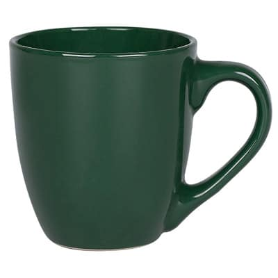 Ceramic green coffee mug with c-handle blank in 14 ounces.