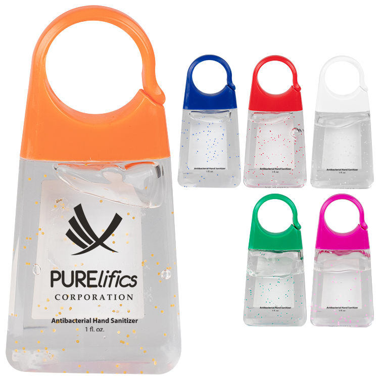 Plastic 1.35 ounce orange bottled hand sanitizer with clip imprinted with logo.