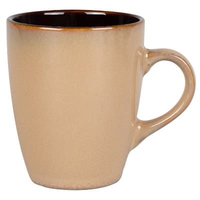 Ceramic tan coffee mug with c-handle blank in 12 ounces.