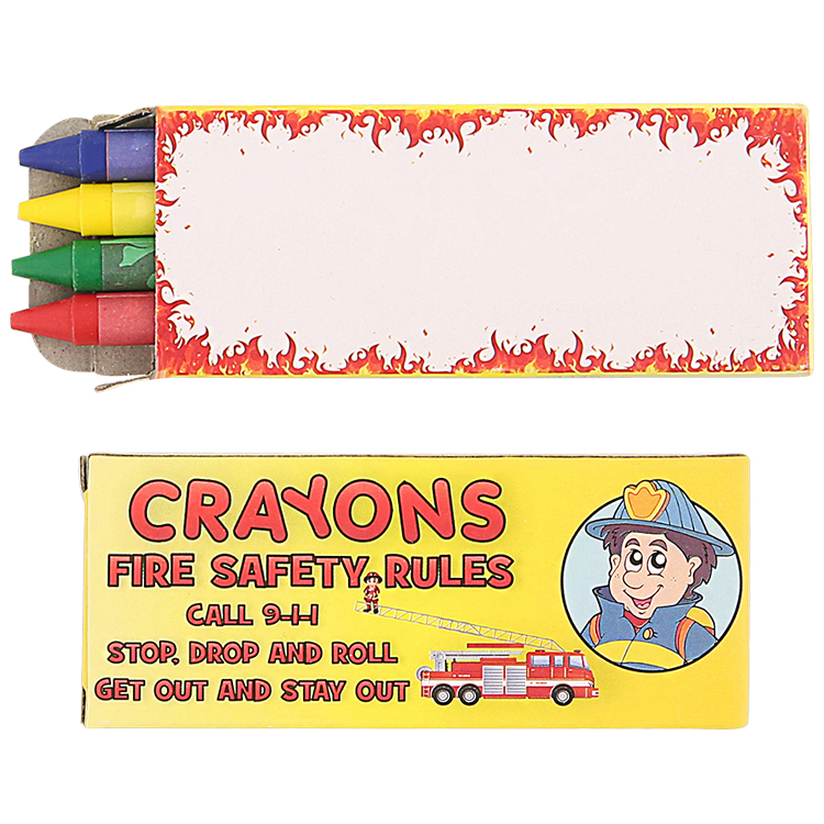 Cardboard 4 pack fire safety crayons blank.