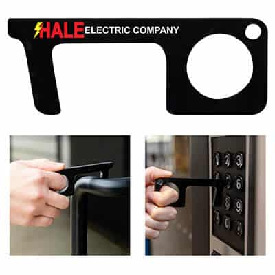 Acrylic touchless door open sanitary key with full color logo.
