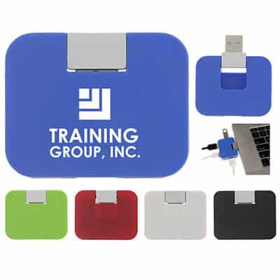 Blue USB hub with a customizable logo.