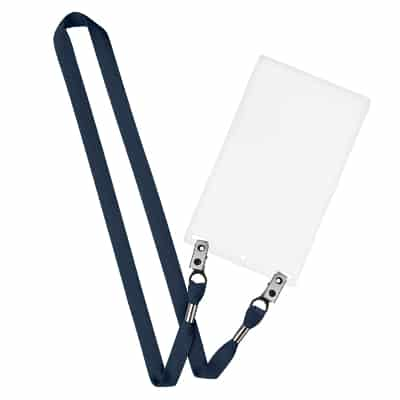 5/8 inch black tubular polyester blank lanyard with double bulldog clips and event holder.