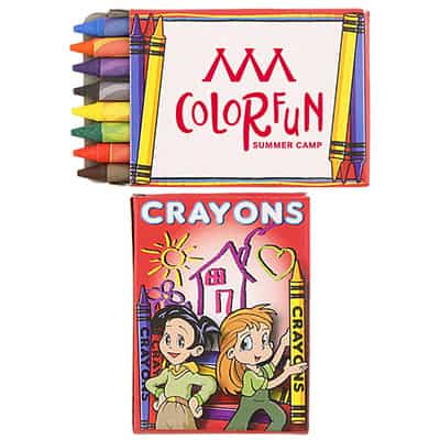 Cardboard 8 pack crayons with printed logo.