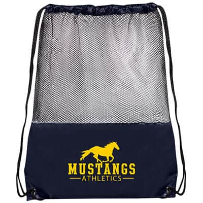 Polyester navy blue mesh panel drawstring bag with logoed imprint.
