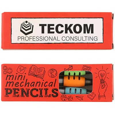Cardboard 3 pack small mechanical pencils with logo.
