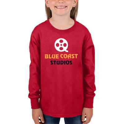 Full color red business long sleeve kids shirt.