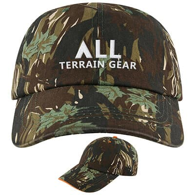 Embroidered smokey branch camo with camo trim hat.