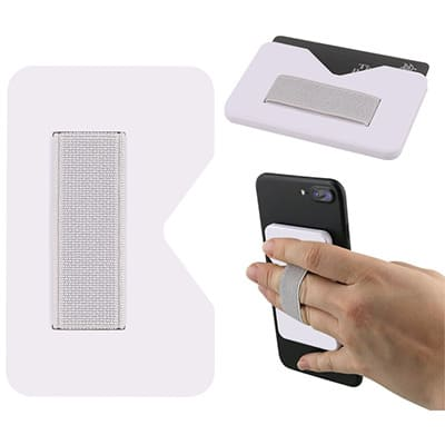 Plastic and elastic white phone wallet with finger grip blank.