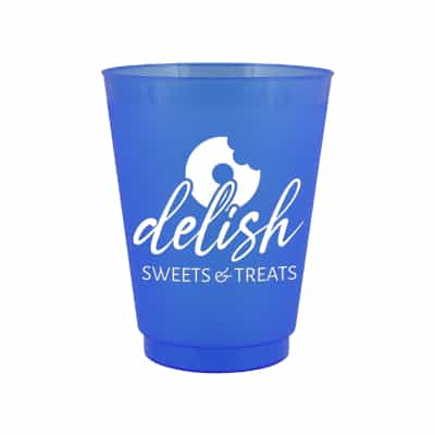 Durable plastic blue plastic cup with custom logo in 16 ounces.