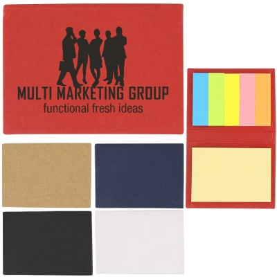 Paper red handy sticky book with promotional imprint.