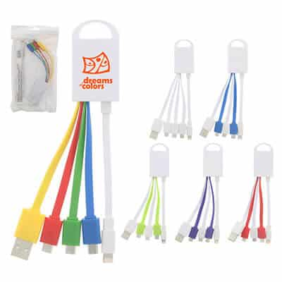 Portable customized multi-color 4 in 1 charging connectors.