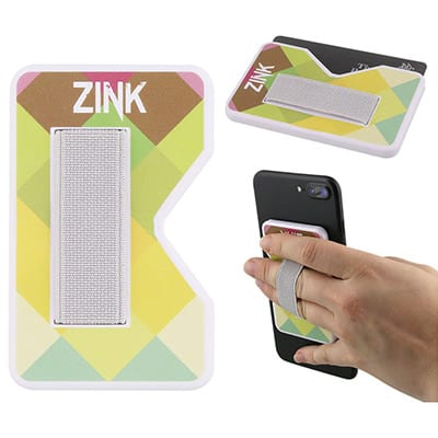Plastic and elastic white phone wallet with finger grip with full color logo.